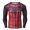 Marvel DC Comics Spiderman Футболки Мужчин С Длинным Рукавом Фитнес 3D Печатных Сжатия Crossfit Tee Косплей Костюм США Доставка