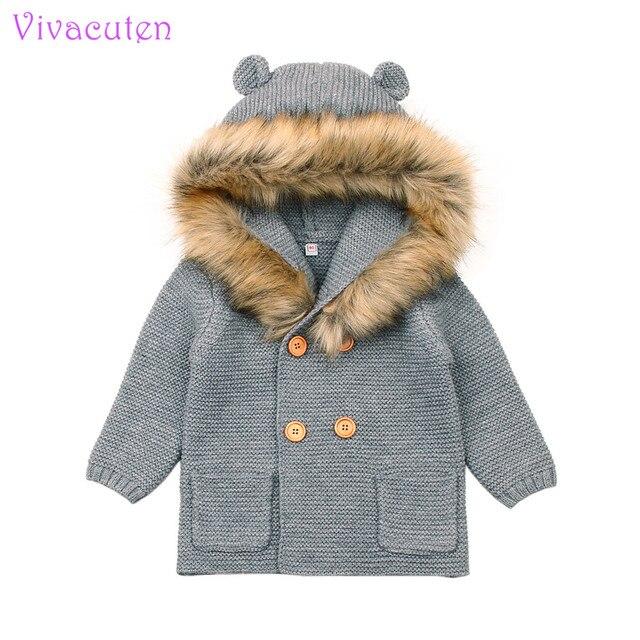 Winter Warm Newborn Baby Sweater Fur Hood Detachable Grey Infant Boys Girl Knitted Cardigan Fall Outwear Children Knitwear