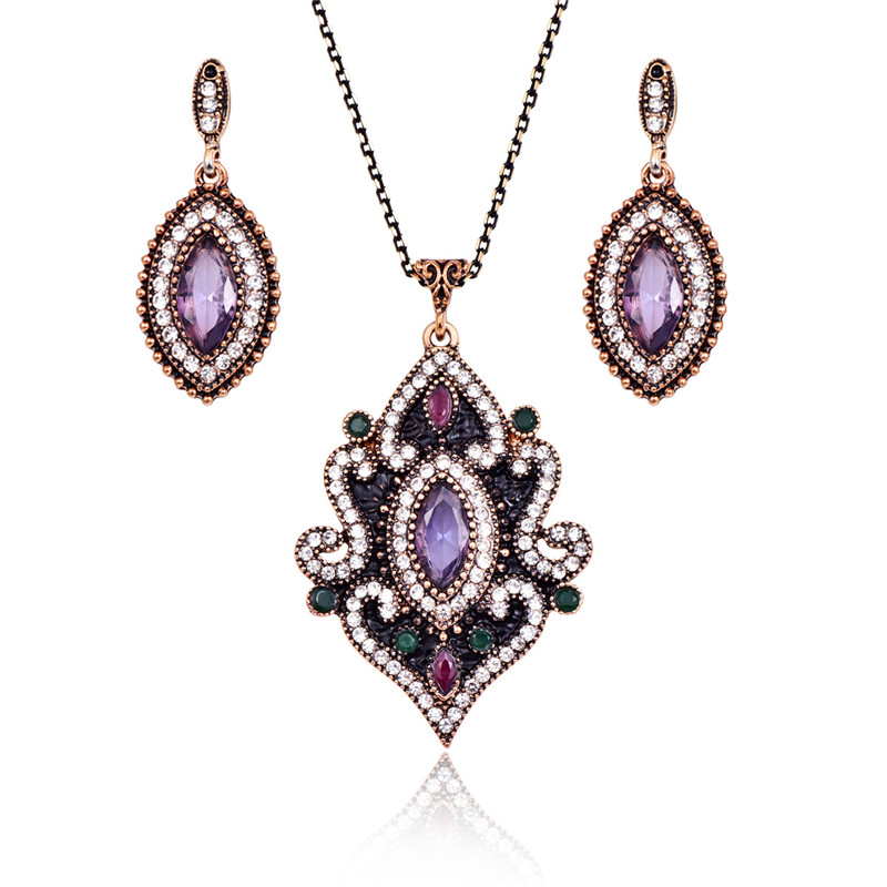 Hesiod Indian Wedding Jewelry Sets Gold Color Full Crystal: Indian Wedding Jewelry Sets For Women Antique Gold Color