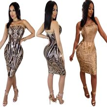 4caa3ab36d 2018 New SexeMara Sexy Strapless Gold Black Sequins Slim Fit Tight Bodycon  Dress Mini Club Party Dress Transparent Vestidos