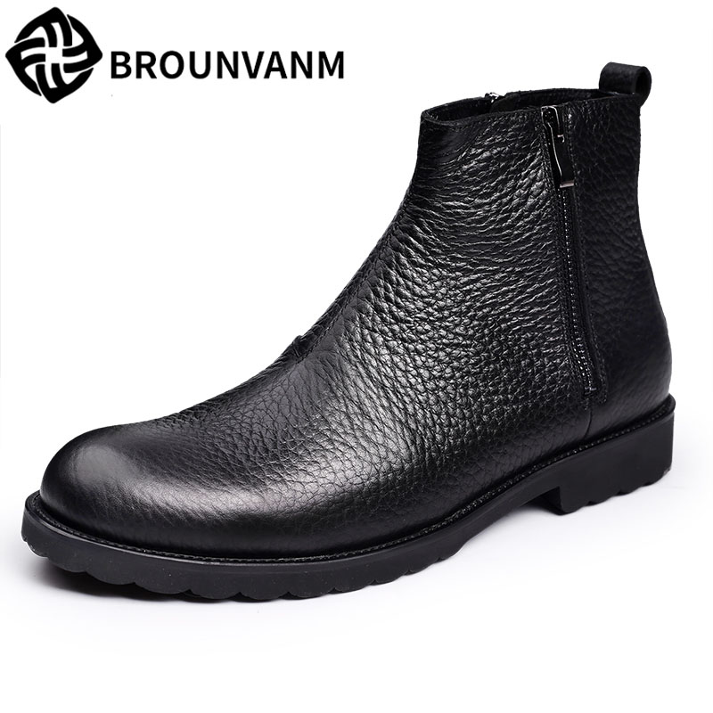 Double zipperThe British men Martin boots high shoes retro shoes and Metrosexual leather boots has thick autumn fall trendboots in europe and america heavy bottomed martin boots british style high top shoes shoes boots sneakers