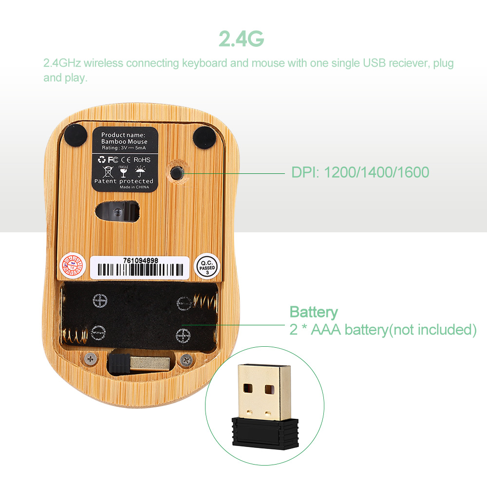 Handcrafted 2.4G Wireless Natural Bamboo Wood PC Keyboard & Mouse Set Computer Keyboard Plug and Play office home 20