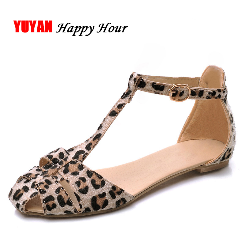 Leopard Print Flat Heel Women's Sandals 2018 Summer Women Summer Shoes 2018 Summer Shoes Fashion Sandals Sweet Free Shipping fashion tassels ornament leopard pattern flat shoes loafers shoes black leopard pair size 38