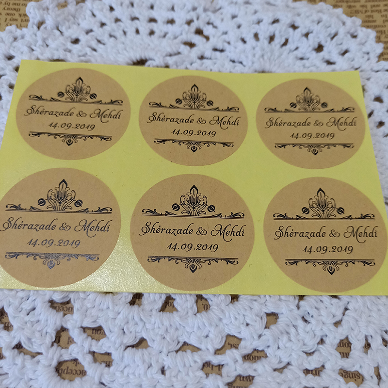 100pcs lot Customized Personalized Wedding Stickers Logos Photo Favor Boxes Tags Cupcake Bottle Labels Invitations Seals in Party Favors from Home Garden