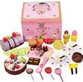 Bebé toys mother garden juguete alimentos mezcla de pastel de chocolate de madera set de cocina de madera toys play house toys regalo de cumpleaños