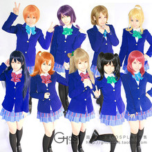 Lovelive anime cosplay set completo uniforme de 4 en 1 capa + blusa + falda + pajarita