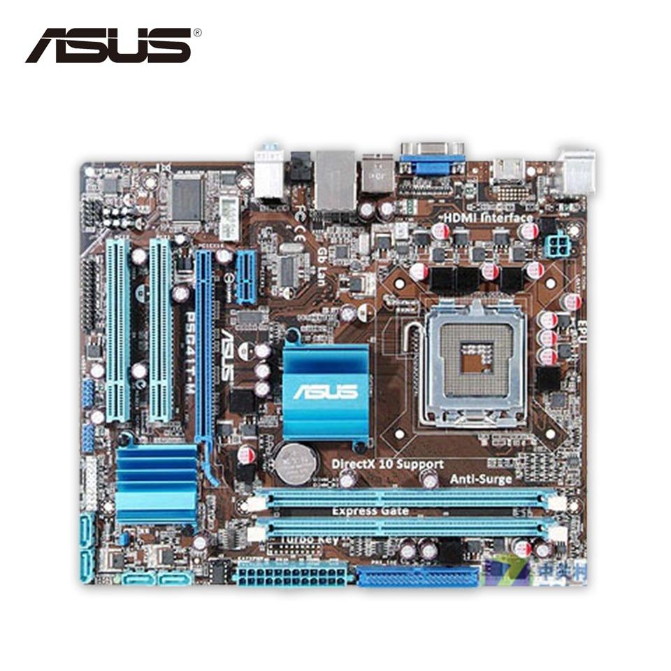 Asus P5G41T-M Desktop Motherboard G41 Socket LGA 775 DDR3 8G SATA2 USB2.0 uATX used for asus p5g41t m lx v2 original desktop motherboard g41 socket lga 775 ddr3 8g sata2 usb2 0