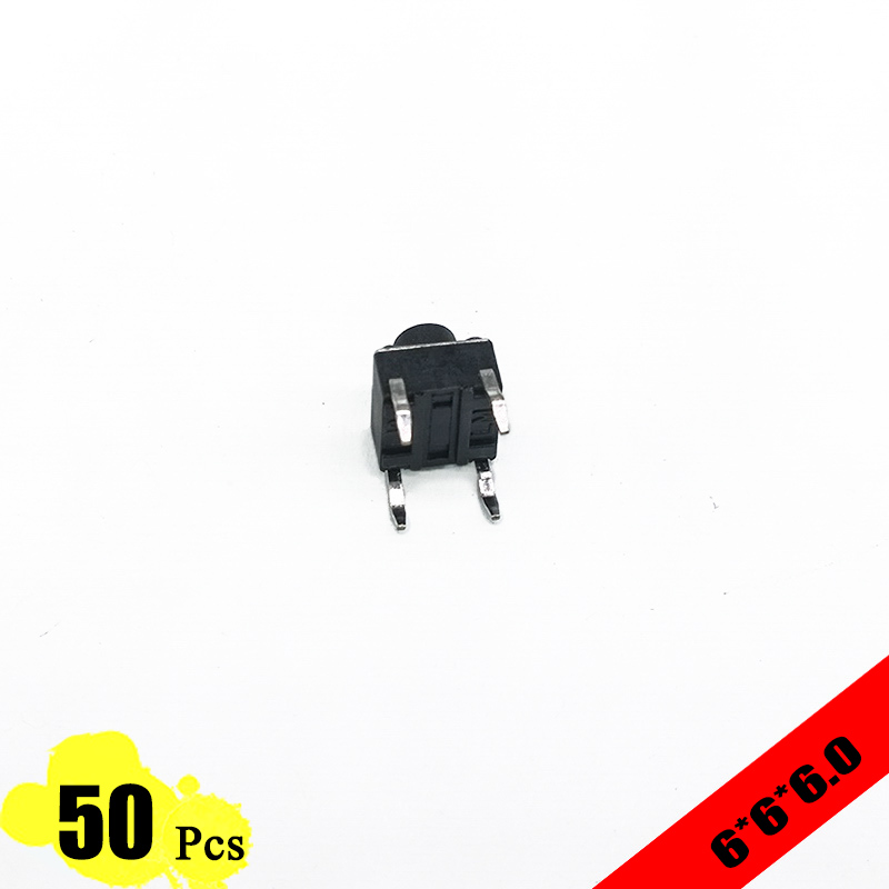 50pcs/lot 6*6*6.0 mm 4 PIN Tactil Tact 12V Push Button Interruptor Micro Switch Direct Plug-in Self-Reset Top 50pcs lot smt 3x4x2 5mm 4pin tactile tact push button micro switch g75 self reset car remote control switch free shipping