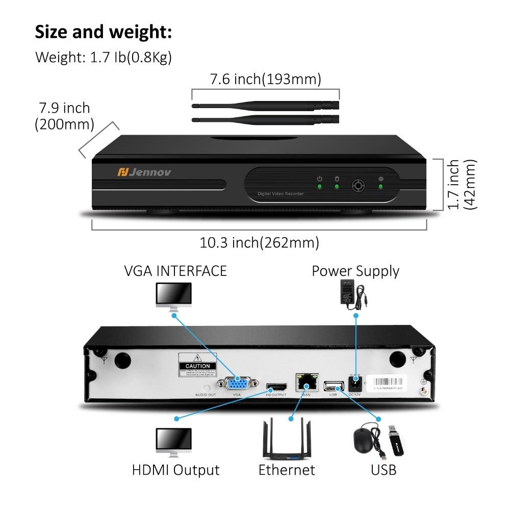 Jennov H.265 5MP 4CH Home Security Drahtlose Kamera CCTV Set Überwachung Kamera WIFI NVR Drahtlose 1080P IP Kamera Im Freien IR-Cut
