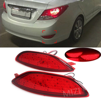 Rear Bumper Reflector Brake Light for Hyundai Accent Verna Brio Solaris 2008 2015 Red Lens LED Bulbs Car Warning Stop Fog Lamp