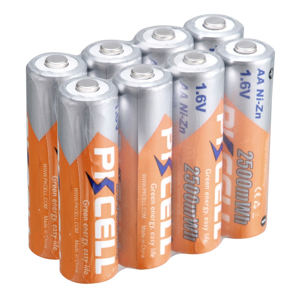 PKCELL Rechargeable <font><b>Batteries</b></font> <font><b>AA</b></font> <font><b>Battery</b></font> Ni-Zn 2500Wh <font><b>1.6V</b></font> 2A <font><b>Battery</b></font> For RC Cell Toy image