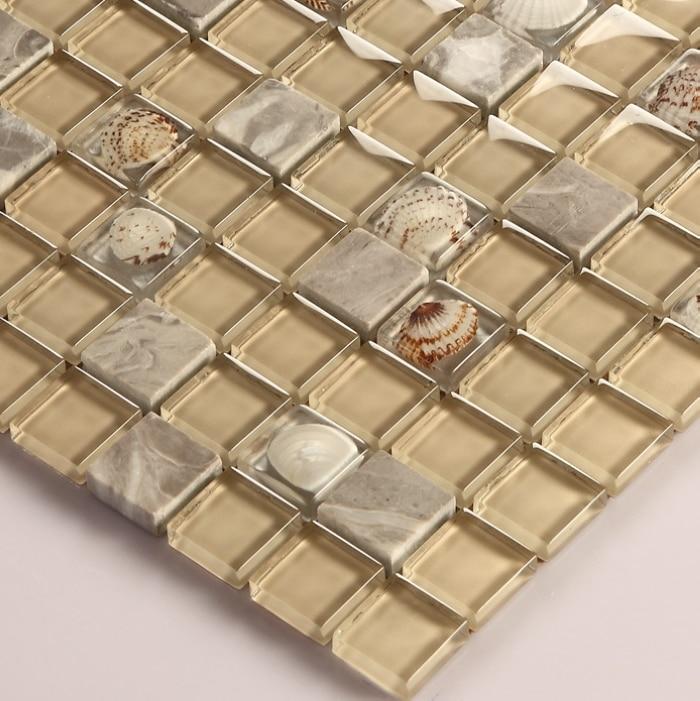 Free Shipping Glass Mixed Natural Sea Shell Mosaic Tiles