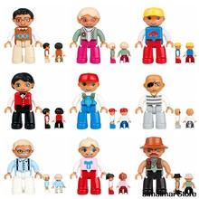 Locking Duplo Family Figures Dad Mom Uncle Boy Brother Girls Sister Farmer Driver Worker Engineer Blocks DIY Toys Bricks(China)