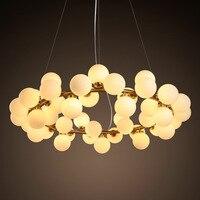 Nordic vidro feijão mágico led lustres lustre de metal ouro sala jantar iluminação led quarto luzes penduradas luminária