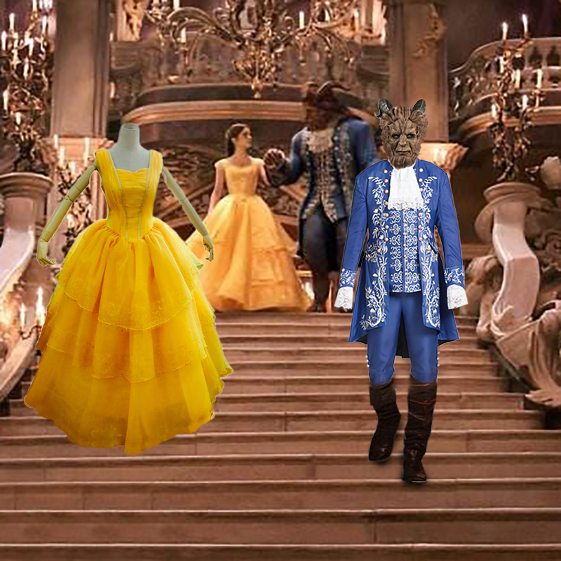 Beauty And The Beast Princess Belle Prince Adam Adult Cosplay Costume New 2017 Movie Halloween Costume