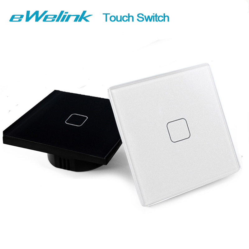 eWelink EU/UK Standard 1 Gang 1 Way RF433 Remote Control Light Switch,Crystal Glass Panel Wall Touch Switch For Smart Home uk standard crystal glass panel smart touch wall light switch 1 gang 2 way wireless remote control light switch