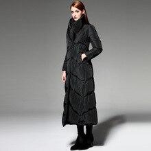 2016 зимняя Куртка Женщины пуховики вниз пальто мода плюс размер утолщение парки женская х-длинные верхняя одежда Падения пальто Куртка