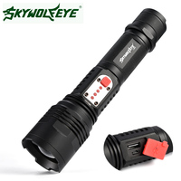 SKYWOLFEYE Powerful Rechargeable L2 LED Flashlight 18650 AAA 26650 Torch Mobile Power Bank USB Charge Battery