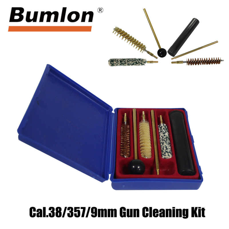 Bumlon אקדח אקדחים Cal.38/357/9mm אקדח ערכת ניקוי כלים סט מברשות ציד רובה מנקה עם עמיד פלסטיק אחסון מקרה