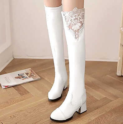 2016 Spring boots boots female knight boots with the new autumn and winter high boots lace women's boots being white