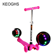 Children kick scooter baby kid PU 3wheels Flashing outdoor sport  disassembly Bodybuilding plastic height adjustable