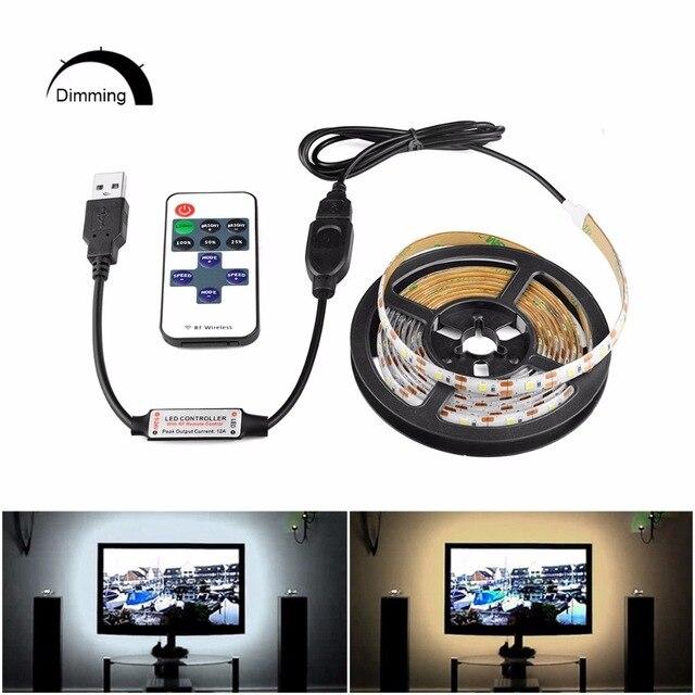 Tira de carga regulable DC 5V blanco cálido tira de luz LED USB Lámpara LED 2835 SMD Puerto cargador USB cinta + RF IR RGB control remoto 1m 2m 5m RGB luz de neón cinta Flexible signo de LED neón lámpara de luz nocturna 2835 5050 120LEDs/m tira de LED remoto 24Key 110V 220V