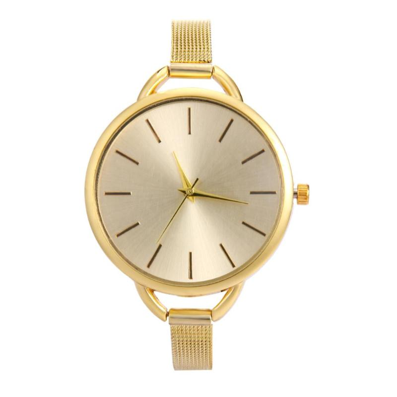 Women Alloy Simple Slim Mesh Band Business Casual Needle Quartz Watch Gift