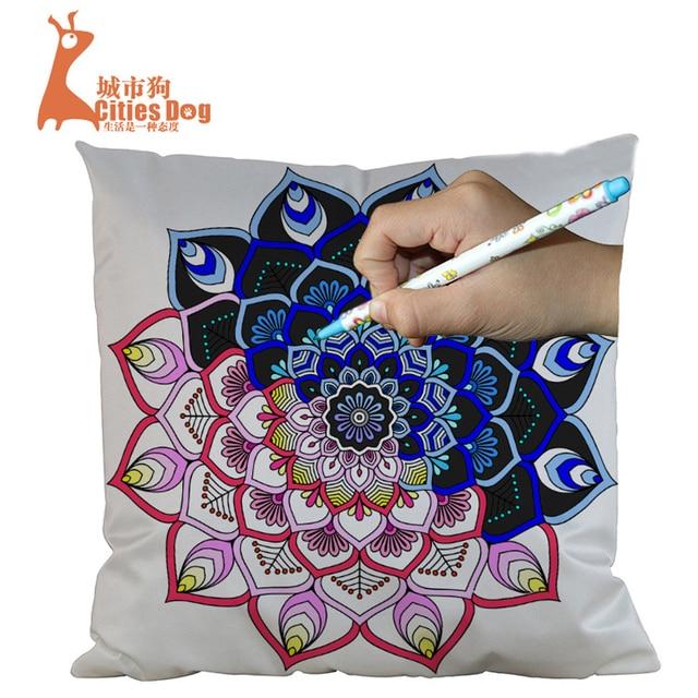 45*45cm imitation silk pillow sets hand painted mysterious garden ...