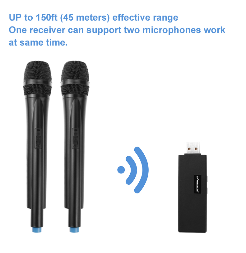 TP-WIRELESS Dual Channel USB Wireless Microphone for Karaoke, Conference, Lecture, Stage, Wedding, Recording, Singing online
