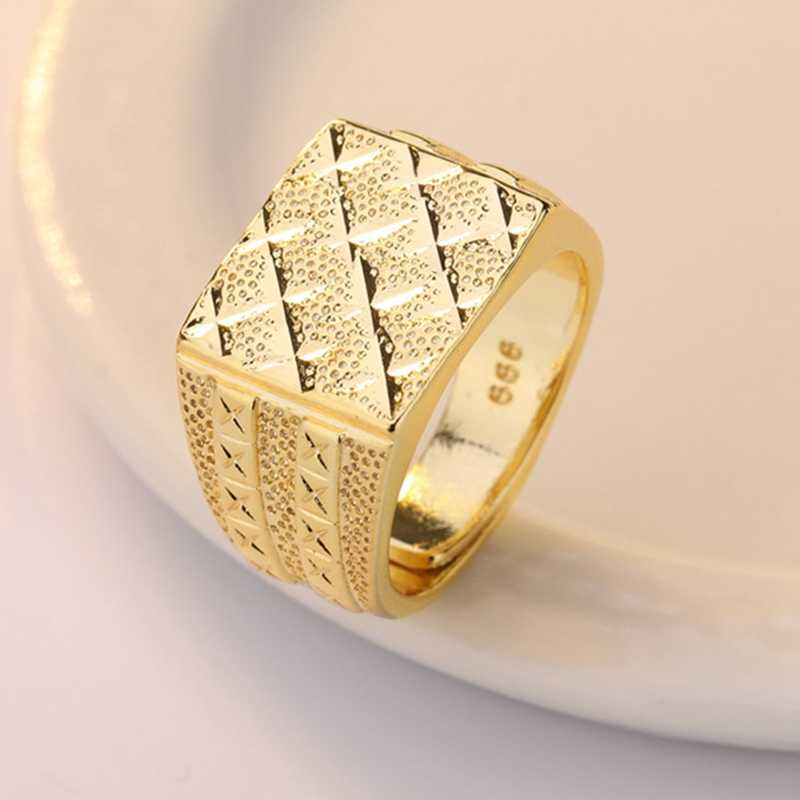 Gold Color Men Finger Ring Male Jewelry Luxury Resizeable Male Rings Frosted Open Adjustable Size Rings