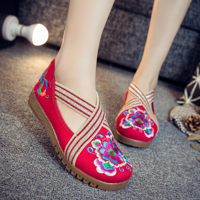 Mix Style Fashion Women's Shoes Old Peking Mary Jane Flat Heel Denim Flats with Embroidery Soft Sole Casual Shoes Size 35-41 джинсы карго jane denim
