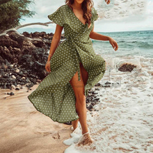 CUERLY Vintage dots print satin women summer dress 2019 Elegant v neck wrap sashes dresses Sexy female party long