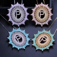 Буквы алфавита буквы подвески ожерелье именной вензель кубического циркония Чокеры colar модные украшения для женщин