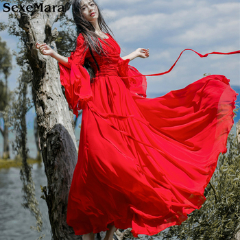 SexeMara New Women Summer Spring Dress Elegant Ladies Vintage Red Long Beach Maxi  Boho Dresses Vestidos photo shoot