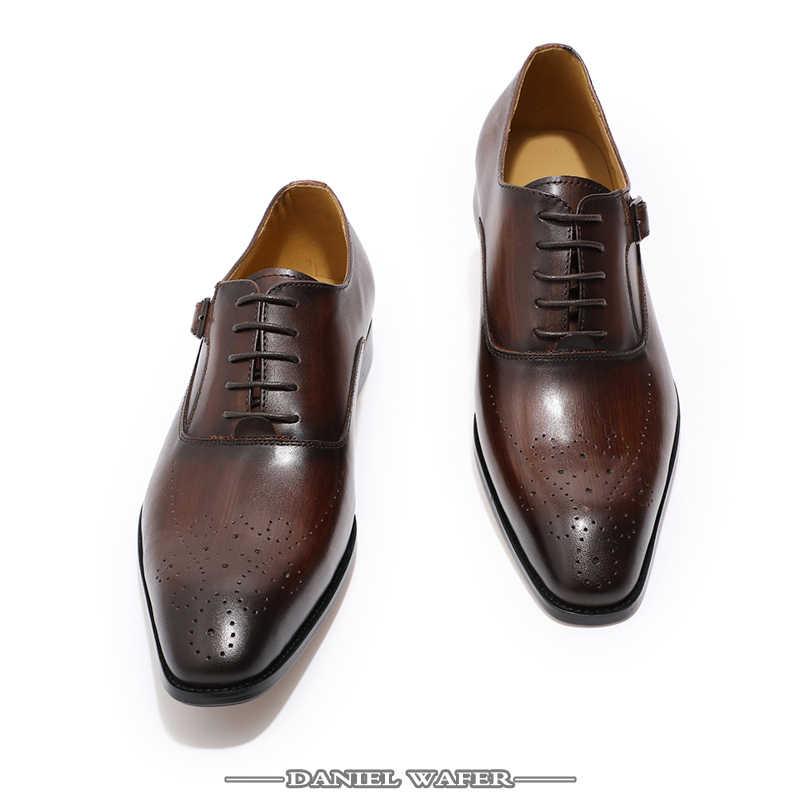 Мужские туфли-оксфорды из натуральной кожи; мужские офисные модельные свадебные туфли с пряжкой на ремешке; коричневые броги с острым носком; оксфорды; официальная обувь; сезон лето