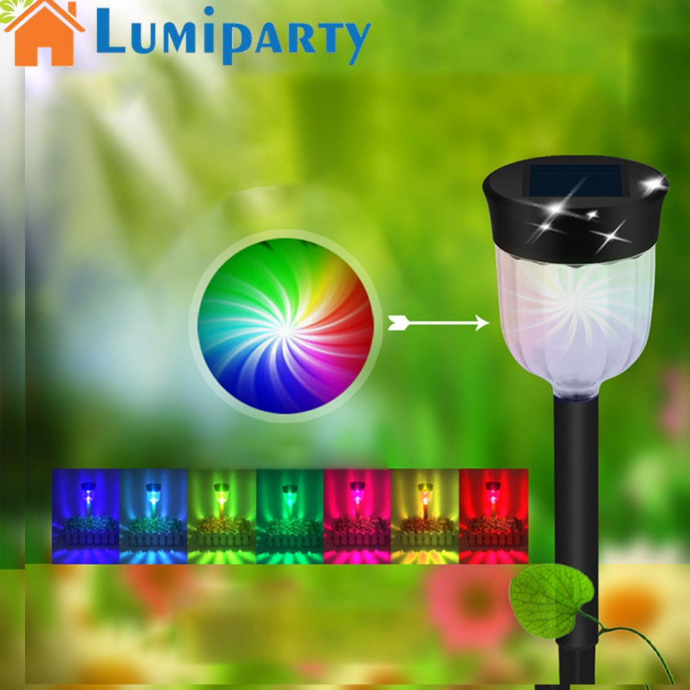 LumiParty 4PCS/6PCS Outdoor Solar-powered LED Lamp Lawn Pin Lamp Waterproof Light Colorful Festival Yard Garden Decoration