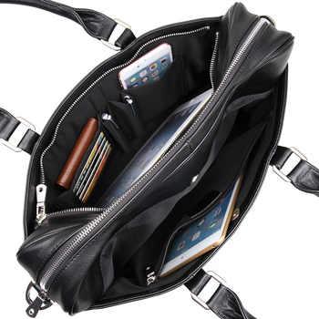 Nesitu Black Brown Chocolate Genuine Leather Men Briefcase 14\'\' Laptop Portfolio Men Messenger Bags Business Travel Bag #M7349