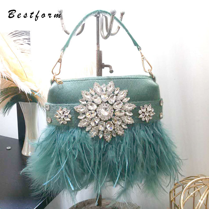 2018 Winter Real Ostrich Feather Evening Bags Women Handbag For Wedding Party pink green Champagne Purse Bags