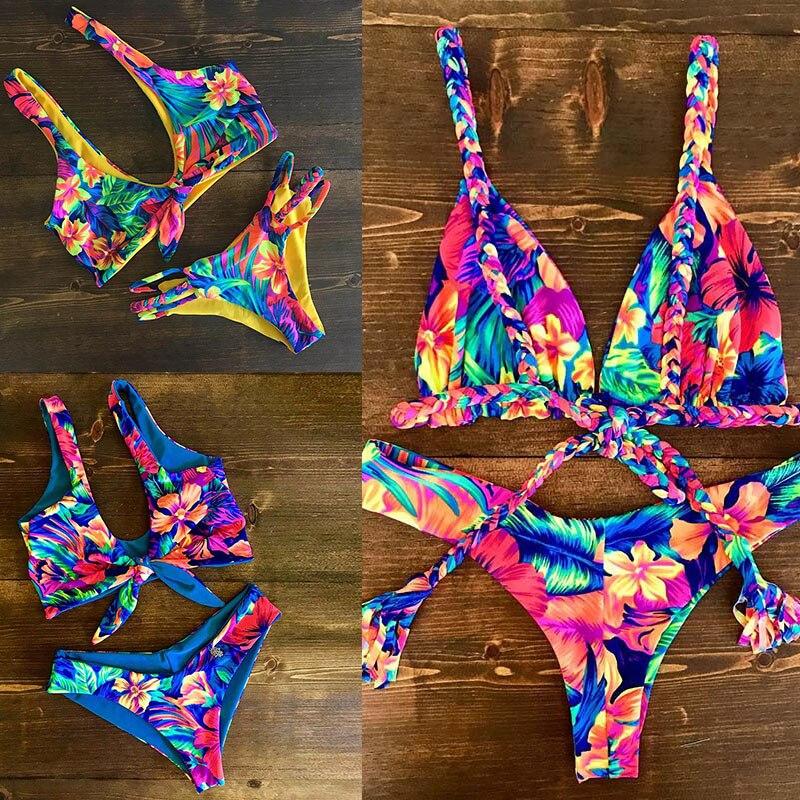 2018 Sexy Bikini mujeres traje de baño vendaje Bikini conjunto Bikini brasileño de playa de verano trajes de baño mujer Biquini de impresión