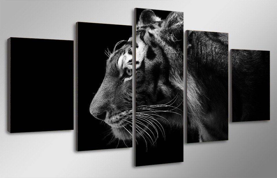 5 Pcs/Set Framed HD Printed Black White Tiger Picture Wall Art ...