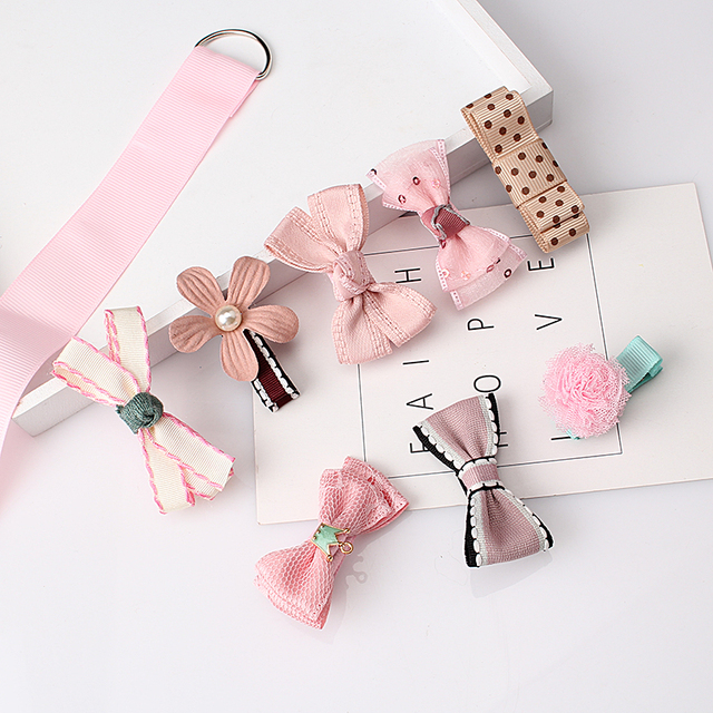 M MISM 1Set=8pcs Multi-style Ribbon Bow Flower Hairpins Hair Barrettes Children Accessories Cute Baby Girls Headwear Hair Clip
