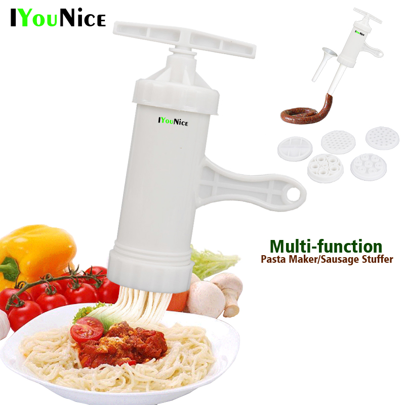 Manual Noodle Maker Kitchen Pasta Spaghetti Press pates Machine Vegetable Fruit Juicer Pressing Sausage Stuffer Machine ...