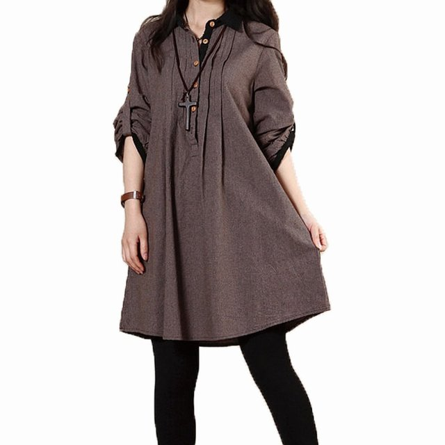 Plus Size Long-sleeved Linen Cotton Maternity Dresses Loose Slim Dress for Pregnant Women Autumn Winter Spring Maternity Clothes