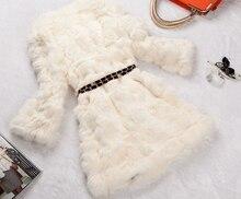 real Rex rabbit hair fur coat slim medium-long three quarter sleeve o-neck patchwork 2013