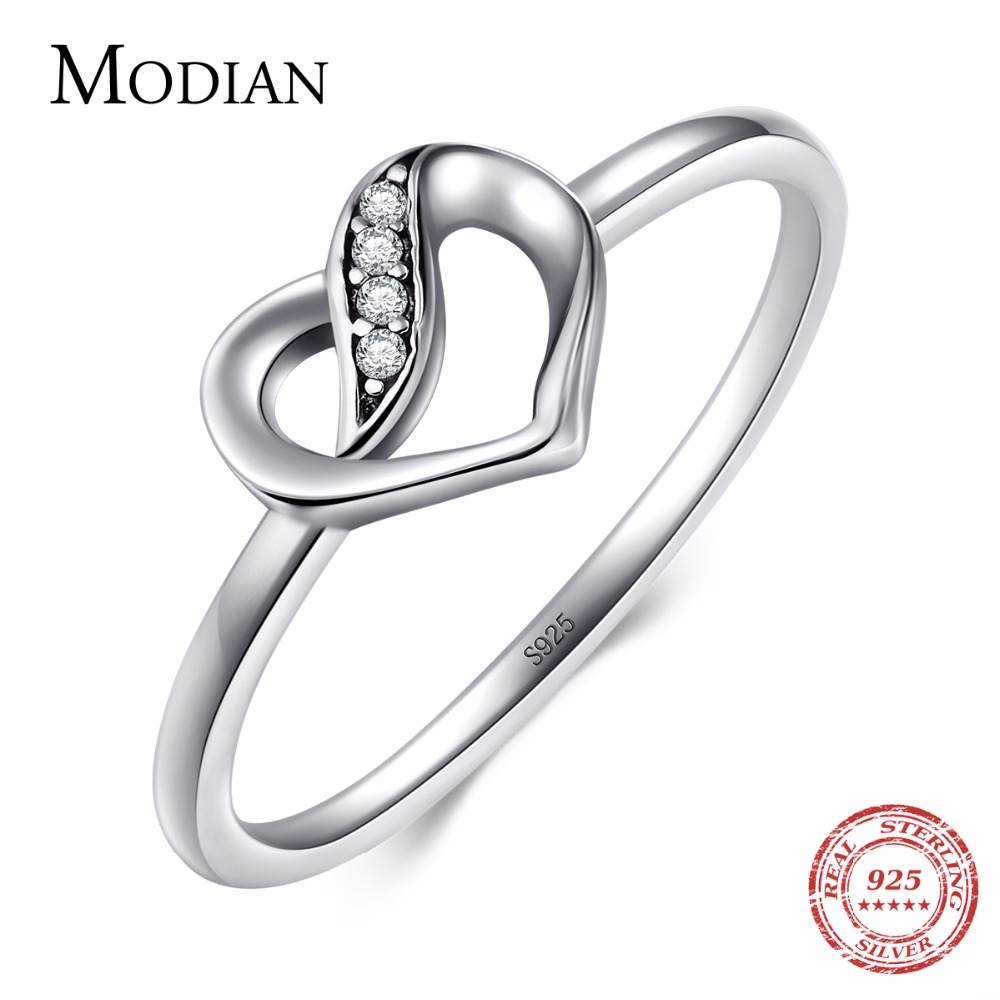 Modian Hot Sale 100% Solid 925 Sterling silver Heart Ring Classic Wedding Luxury Fashion jewelry CZ Zirconia For Women Gift