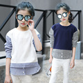 long sleeve girls blouses children's fashion clothing spring 2017 tops striped sleeve patchwork blouse girl 8 10 12 13 14 year
