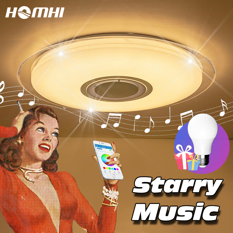 Starry LED Bluetooth Music ceiling lamp for living room bedroom light flush mount ceiling light with remote control phone via living with music