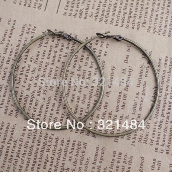 Gorąca sprzedaż 200 sztuk/partia 50mm antique bronze hoop kolczyki ustalenia bigiel haki w Wykończenia i elementy biżuterii od Biżuteria i akcesoria na  Grupa 1