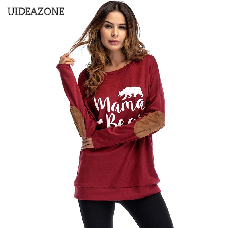 2018 Casual Mama Bear Print Women Sweatshirts Long Sleeve Loose Pullovers Top Oversize Patchwork Long Girls Streetwear