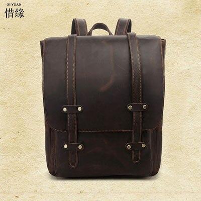 все цены на XIYUAN 2017 Men Cowhide Genuine Leather Fashion Vintage Backpacks Large Capacity Shoulder Travelling Bag For College student в интернете